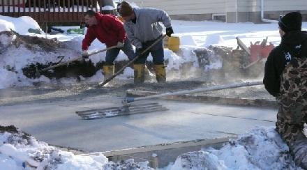 gjuta betong på vintern