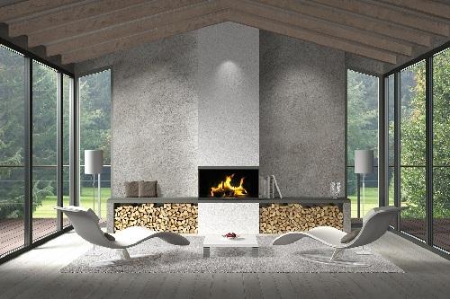 orangeri med eldstad, öppen spis eller kamin