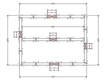 Konstruktionsritning för balkgrund platta på mark